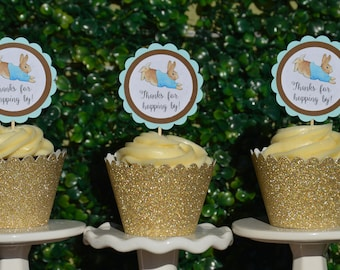 Peter Rabbit Cupcake Toppers,12CT,Ready in 1-3 business days,Peter Rabit Favor Tags,Bunny Favor Tags,Peter Rabbit Shower,Peter Rabbit Party