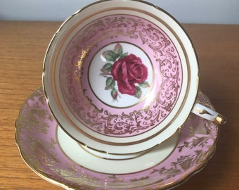 Vintage Pink Paragon Roses Teacup and Saucer, Gold Filigree Pink Cream Tea Cup and Saucer, Bone China