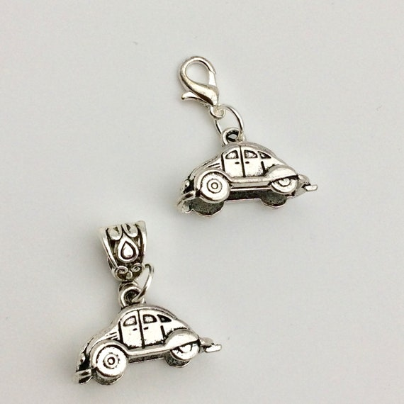 JW Charm, Dangle Car, European Style or Lobster Claw, Silver-tone.  Blue monkey velvet gift pouch