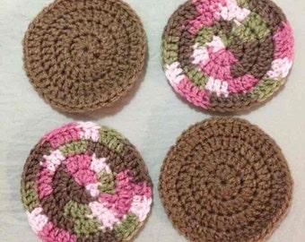 Set of 4 crocheted yarn coasters