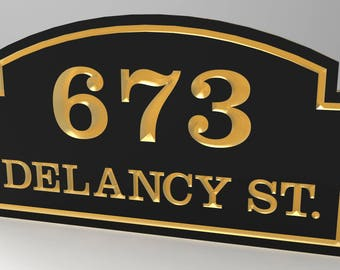 House Number Sign With Top Sculpted Curved Frame Personalized with Gold Lettering and Trim.