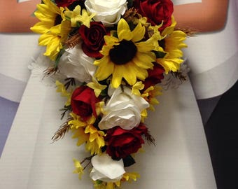 """NEW Wheat Wedding Flowers, Western Sunflower, Red Rose Bouquet, """"Country Lovin"""" Bouquet"""