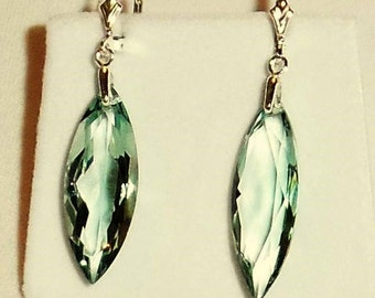 24cts Marquise Soft Green Amethyst gemstones, Sterling Silver Leverback Earrings