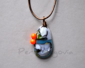 Fused Art Glass Pendant Necklace