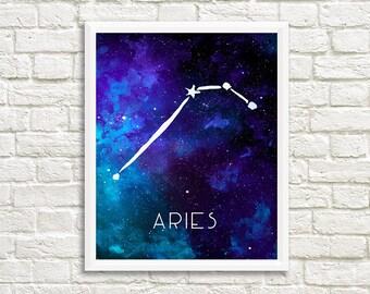 Aries Constellation, Art Print, Watercolor, Blue, Aqua, Aquamarine, Night Sky, Space, Stars, and Horoscope, Digital File, Instant Download