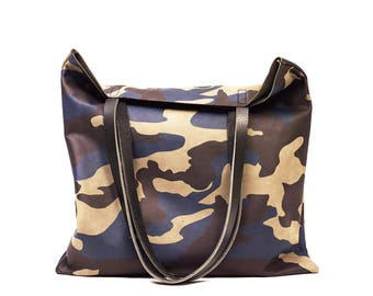 blue Camouflage Leather Tote bag - camo Leather Everyday Tote bag - Minimal leather tote- Sale