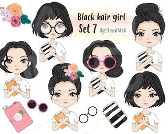Black hair girl Clip art set 7 , instant download PNG file - 300 dpi