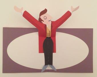 PopUp 3D Circus Ringmaster Birthday Card Greeting Card!