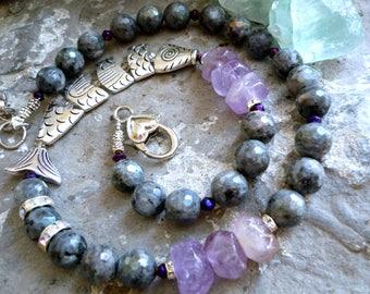 labradorite necklace,  amethyst necklace, fish necklace, mermaid necklace, labradorite round 10mm beads, choker necklace, amethyst rondelle