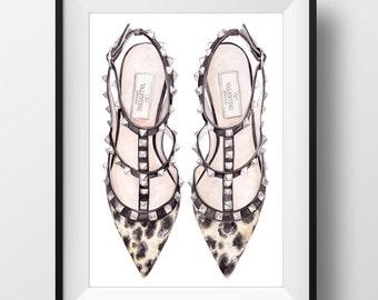 VALENTINO ROCKSTUD Shoe Print - Original watercolor print