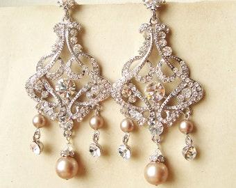 Champagne Pearl Bridal Earrings, Chandelier Wedding Earrings, Art Deco Statement Bridal Jewelry, Champagne Wedding Jewelry, ALESSANDRA