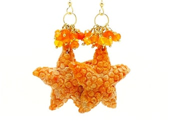 Starfish Earrings, Carved Coral Earrings, Beach Earrings, Seashell Earrings, Ocean Earrings, Beach Jewelry, Starfish Jewelry,Cluster Earring