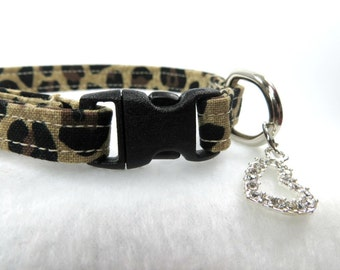 Leopard Print Cat Collar, Animal Print Cat Collar, Breakaway Cat Collar, Adjustable Cat Collar