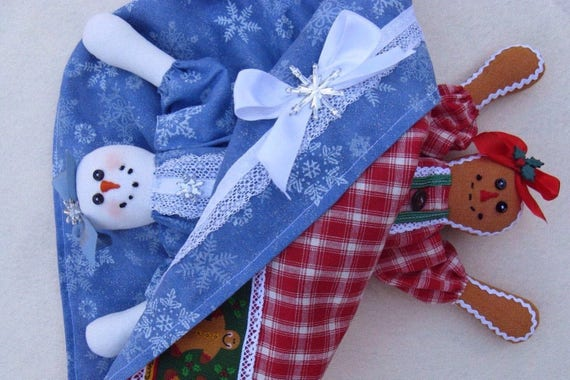 Snowgirl Gingerbread Topsy Turvy Doll - Mailed Cloth Doll Pattern Christmas Topsy Turvy Doll
