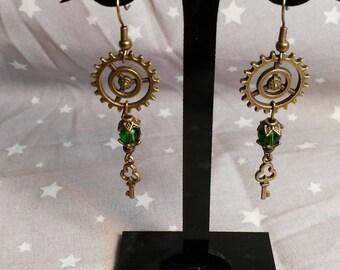 Green Steampunk earrings
