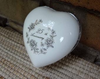 25th Anniversary Heart Trinket Box // 1983 Enesco Giftware // Silver Anniversary Gift