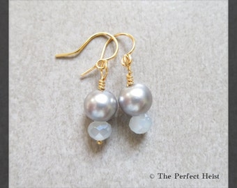 Earrings, Pearl, Silver, Grey, Swarovski, Faceted, Jewelry