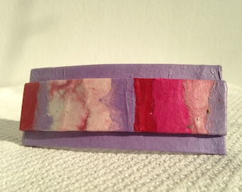 Purple Hanji French Barrette Hair Pin OOAK Patchwork Pink Purple Girly Tones Sturdy Stainless Steel Barrette Handmade