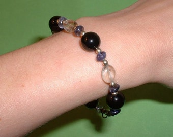 Onyx, Iolite and Smoky Quartz Bracelet