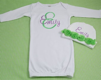 Personalized Monogram Infant Baby Girl Gown PLUS Personalized Matching Hat SET