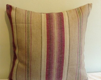 """16"""" Handmade contemporary modern purple, beige stiped cushion cover,  pillow, scatter cushion."""