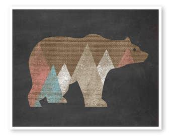 Bear Print, Bear Nursery Art, Kids Wall Decor, Modern Nursery Art, Nursery print, Woodland Nursery, Woodland Decor, Nursery Print