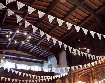 Romantic lace garland, shabby chic bunting, wedding flags