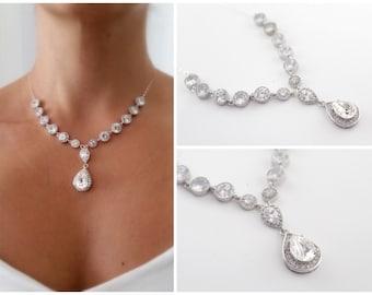 Statement Wedding Necklace, Cubic Zirconia Necklace, Swarovski Crystal Necklace, Bridal Necklace Wedding Teardrop Necklace Bridal Y Necklace