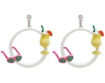Vintge Enameled JJ Vacation Hoop Earrings, Sunglasses, Pina Colada, USA!