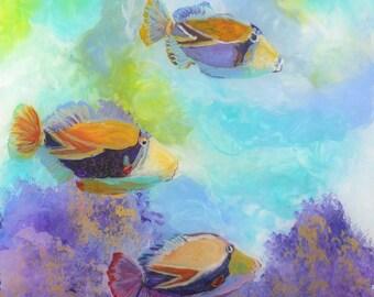 Tropical Hawaiian Fish Art - 8 x 8 Giclee Art Print - Kauai Hawaii - Childrens Wall Art - Kids Tropical Fish Decor - Tropical Reef Fish Art