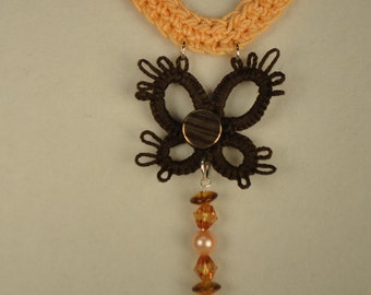 Tatted Brown Butterfly Pendant - Peach Crocheted Necklace - Lace Jewelry - Summer Necklace