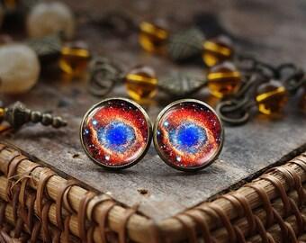 Nebula stud earrings, Galaxy earrings, Universe earrings, Space earrings, Blue Nebula studs, Blue and red earrings, bronze tone earrings