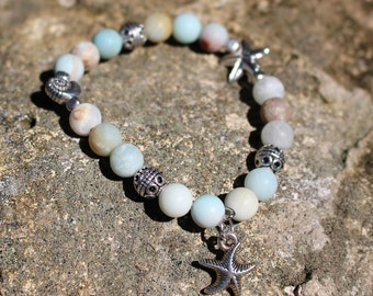 Starfish charm bracelet, matt jasper beads, coastal bracelet