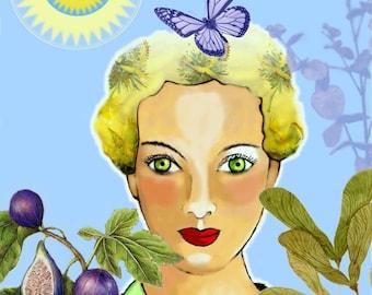 /La Lady light/mixed media illustration / digital print