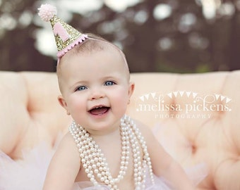 Mini Glittery Birthday Girl Party Hat | Birthday | Cake Smash | 1st Birthday | Baby Birthday | Ready to Ship