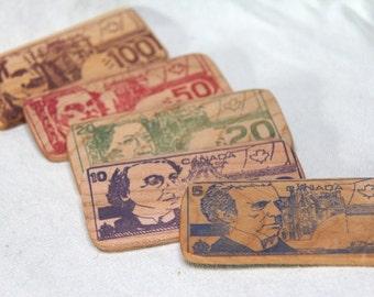 play money - big spender - 5 wooden bills