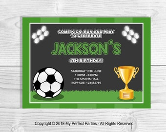 Personalised Football Birthday Party Invitation, Soccer Birthday Invitation, Birthday Party Invitations - PACK OF 10