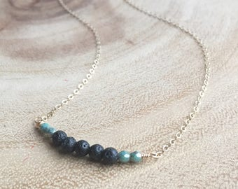 10 - Diffuser necklace w: fire polished Czech beads