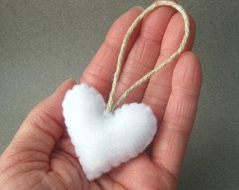 Weißen Filz Herz Christbaumkugel Filz umweltfreundlich recycelt