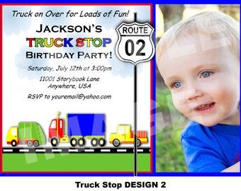 Truck Birthday Invitation - Trash Truck Birthday Invitation - 18 Wheeler Invitation Semi Truck - Truck Stop Printable Party Photo 2 Options