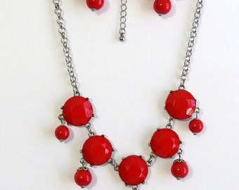 Red cabochon drop necklace and earrings, Beads chain necklace, Drop earrings, Valentine's gift