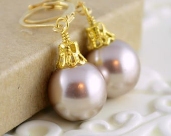 Taupe Earrings, Large Glass Pearls, Christmas Balls, Gold Plated Lever Earwires, Fun Holiday Jewelry