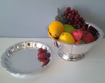 Vintage silver plate bowl and plate - footed bowl - matching bowl and plate - dessert table - scalloped edge silver - silver plate serving