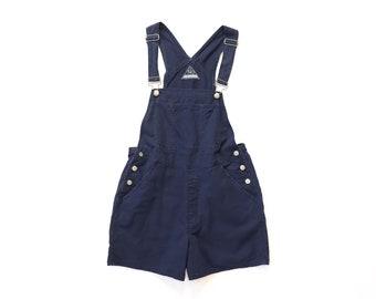 90s Navy Blue Faded Cotton Linen Shortalls Overalls Shorts 1990s Jumper Pinafore Romper Bibs Khaki Worn In Utility Workwear Baggy Medium