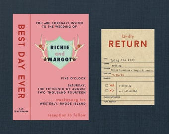 Wes Anderson Styled Library Wedding Invitation // DIY PRINTABLE Invite + RSVP // Modern Wedding, Library Wedding, Wes Anderson Inspired