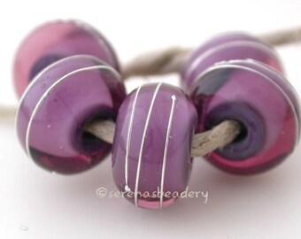AMETHYST LAVENDER - Lampwork Glass Beads, fine silver wire wrap - taneres purple violet, bead set, handmade glass beads
