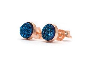 Royal Blue in Rose Gold Stud Earrings - Druzy Studs - 24k Rose Gold Vermeil Stud Earrings - Round 6mm - Bezel Set Stud Earrings