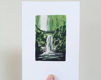 Waterfall and Bridge Print