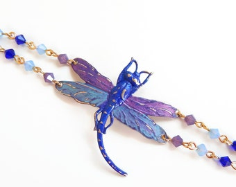 Colibri - hand painted dragonfly bracelet with Swarovski crystals - dragonfly jewelry - crystal bracelet - one of a kind bracelet