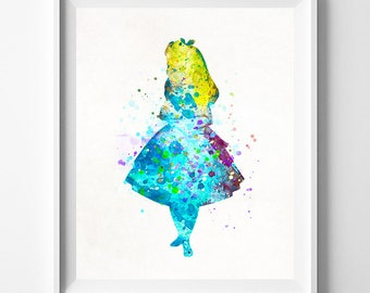 Alice in wonderland, Disney Print, Mad Hatter, Alice Poster, Watercolor Art, Wife Gift, Best Friend Gift, Baby Art, Type 2, Fathers Day Gift